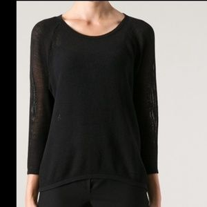 James Perse Black Cotton Mesh Raglan Sweater